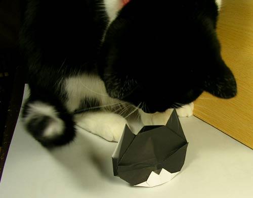 すべての折り紙 折り紙 ネコ : No.47.猫折り紙<猫とネコとふ ...