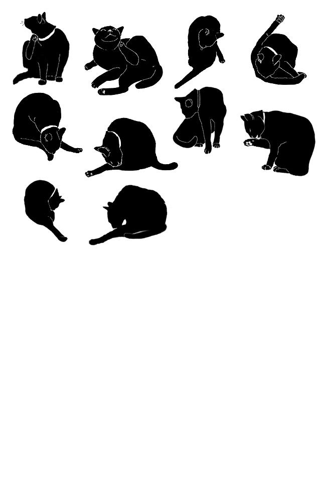 猫のフリー素材:猫シルエット